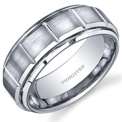 Oravo 8 mm Comfort-Fit Tungsten Carbide Wedding Band Ring for Men