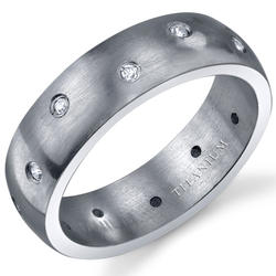 Oravo 6 mm Starburst-Style Cubic Zirconia Titanium Wedding Band Ring for Men