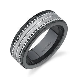 Oravo Black Comfort-Fit Ceramic and Tungsten Wedding Band Ring for Men