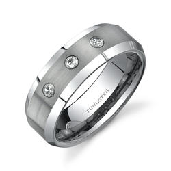 Oravo 8 mm 3-Stone Comfort-Fit Tungsten Wedding Band Ring for Men