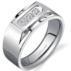 Oravo 10 mm Bold 3-Stone Titanium Ring for Men