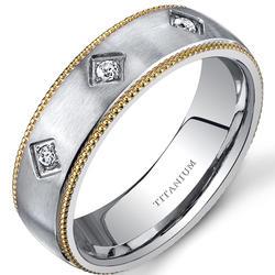 Oravo 8 mm Gold-Toned 3-Stone Titanium Wedding Band for Men