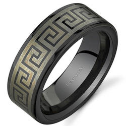 Oravo Greek Key Motif Black Tungsten Wedding Band Ring for Men