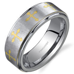 Oravo Cross Motif Silver-Toned Tungsten Wedding Band Ring for Men
