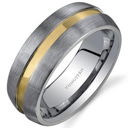 Oravo Rounded Edge Rose Gold-Toned Tungsten Wedding Band Ring for Men