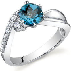 Oravo Ethereal Curves 1 ct. Round-Shaped London Blue Topaz Sterling Silver Ring