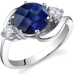 Oravo 3-Stone Design 2.75 ct. Round-Shaped Sapphire Sterling Silver Ring
