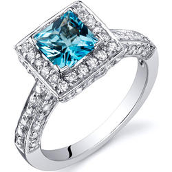 Oravo 1 ct. Princess-Cut Swiss Blue Topaz Sterling Silver Ring