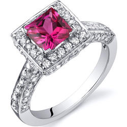 Oravo 1 ct. Princess-Cut Ruby Sterling Silver Ring