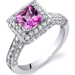 Oravo 1 ct. Princess-Cut Pink Sapphire Sterling Silver Ring