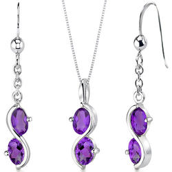 Oravo 2.25 ct. 2-Stone Oval-Shaped Amethyst Sterling Silver Pendant and Earrings Set