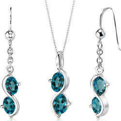 Oravo 3.75 ct. 2-Stone Oval-Shaped London Blue Topaz Sterling Silver Pendant and Earrings Set