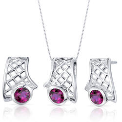 Oravo 2.25 ct. Round-Shaped Ruby Sterling Silver Pendant and Earrings Set