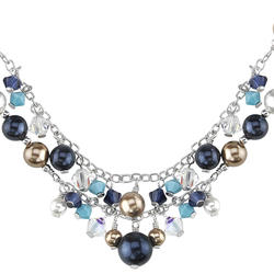 Oravo Swarovski Crystals and Pearls Sterling Silver Charm Necklace