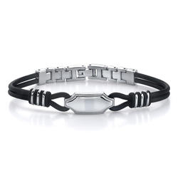 Oravo Stainless Steel ID-Style Rubber Cord Link Bracelet for Men