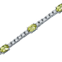 Oravo 3.75 ct. Oval- and Round-Shaped Peridot and White Cubic Zirconia Sterling Silver Bracelet