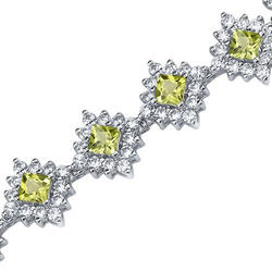 Oravo 2 ct. Princess- and Round-Cut Peridot and Cubic Zirconia Sterling Silver Bracelet