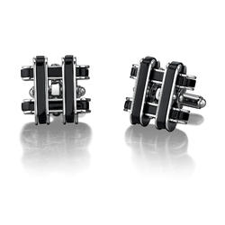 Oravo Stainless Steel Cufflinks with Black Resin Inlay for Men