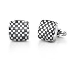 Oravo Chessboard Stainless Steel Cufflinks for Men