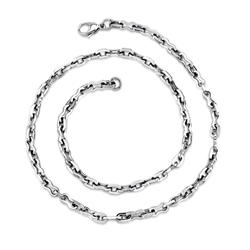Oravo Classic High-Polished Stainless Steel Link Necklace for Men