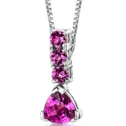 Oravo 3 ct. Trillion- and Round-Cut Pink Sapphire Sterling Silver Pendant