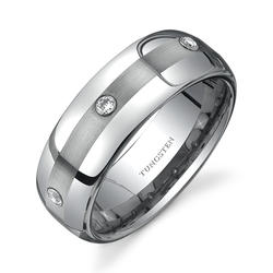 Oravo 8 mm Rounded 3-Stone Design Cubic Zirconia Comfort-Fit Tungsten Ring for Men