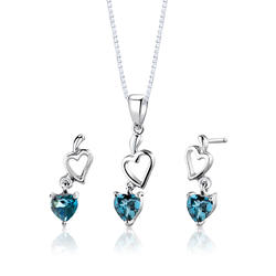 Oravo 2 ct. Heart-Shaped London Blue Topaz Sterling Silver Pendant and Earrings Set