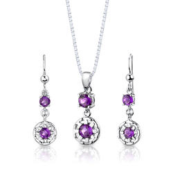 Oravo 2 ct. Round-Shaped Amethyst Sterling Silver Pendant and Earrings Set