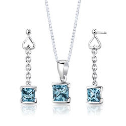 Oravo 2.75 ct. Princess-Cut Swiss Blue Topaz Sterling Silver Pendant and Earrings Set