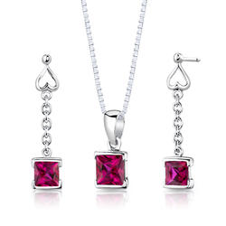 Oravo 2.75 ct. Princess-Cut Ruby Sterling Silver Pendant and Earrings Set