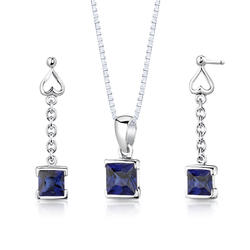 Oravo 2.75 ct. Princess-Cut Sapphire Sterling Silver Pendant and Earrings Set