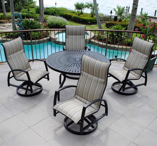 backyard creations 5 piece sanibel dining collection skyline stripe