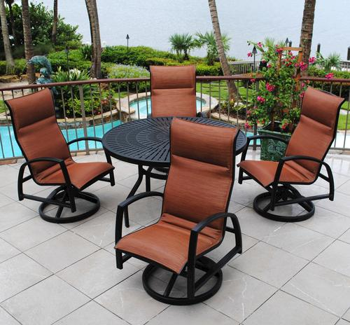 Backyard Creations 5 Piece Sanibel Dining Collection Dupione Spice