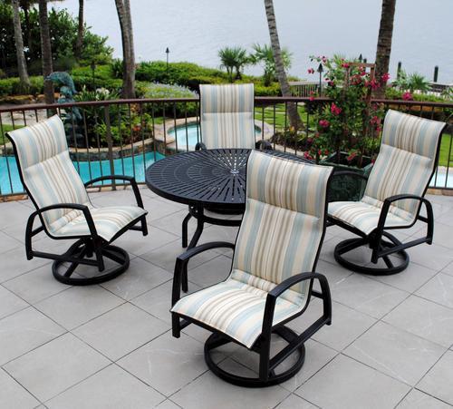 backyard creations 5 piece sanibel dining collection coastal stripe