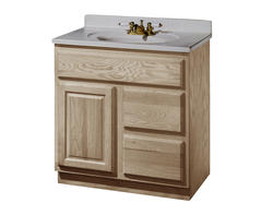 """Pace 30"""" x 18"""" Unfinished Oak Vanity with Drawers on Right"""