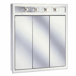 """Pace 30"""" White Lighted Tri-View Medicine Cabinet"""