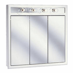 "Pace 36"" White Lighted Tri-View Medicine Cabinet"
