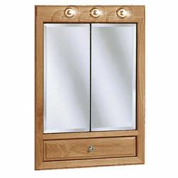 """Pace 24"""" Oak Lighted Bi-View Medicine Cabinet with Drop Door"""