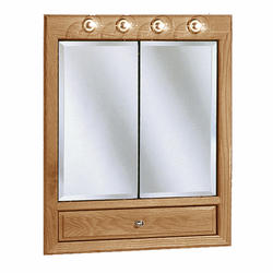 "Pace 30"" Oak Lighted Bi-View Medicine Cabinet with Drop Door"