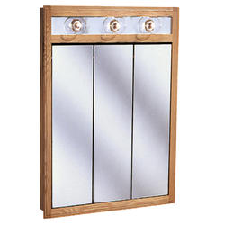 "Pace 24"" Oak Lighted Tri-View Medicine Cabinet"
