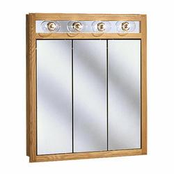 "Pace 30"" Oak Lighted Tri-View Medicine Cabinet"