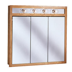 "Pace 36"" Oak Lighted Tri-View Medicine Cabinet"