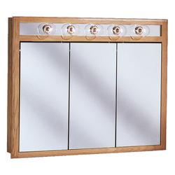 "Pace 48"" Oak Lighted Tri-View Medicine Cabinet"