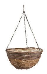 """12"""" Black/Yellow Rattan Hanging Basket"""
