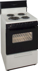 "Premier 24"" Electric Coil Freestanding 3 cu. ft. Range with 10"" Tempered Glass Backguard"