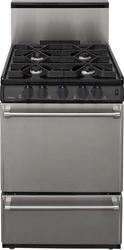 """Premier Pro-Series 24"""" Black Gas Commercial Style 3 cu. ft. Sealed Top Burner Range"""
