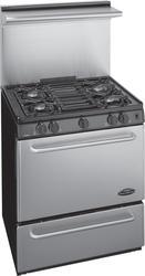 """Premier Pro-Series 30"""" Black Gas Commercial Style 3.9 cu. ft. Sealed Top Burner Range"""