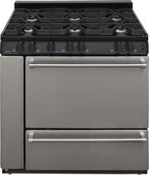 "Premier Pro-Series 36"" Black Gas Commercial Style 3.9 cu. ft. Sealed Top Burner Range"