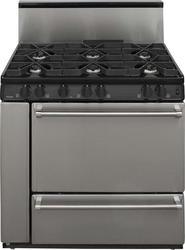 """Premier Pro-Series 36"""" Black Gas Commercial Style 3.9 cu. ft. Sealed Top Burner Range"""