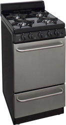 "Premier 20"" Black on Stainless Steel Gas Freestanding 2.4 cu. ft. Range with 4"" Porcelain Backguard"